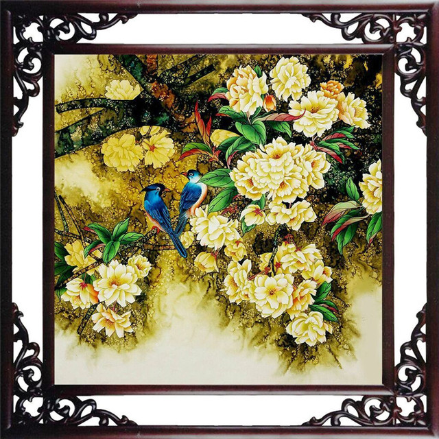 5d diy diamond painting yellow bird flower pictures diamond embroidery flower needlework 5d wall sticker home
