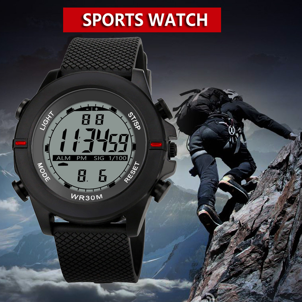 2018 Fashion Watch LED Digital Men Waterproof Sport Style Men's Boy Stopwatch Date Rubber Sport Wrist Watch Relogio Masculino