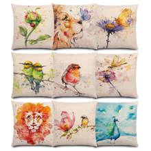 Pillow-Case Lion-Flowers Good-Cushion-Cover Flamingos Butterfly Ladybug Robin Bird Animal