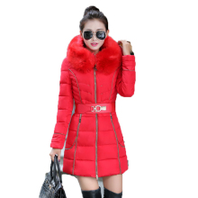 2016 New Fashion Winter Women Down cotton coat Fur Collar Hooded overcoat thick Warm Coats Long section Parka Women Winter Coat