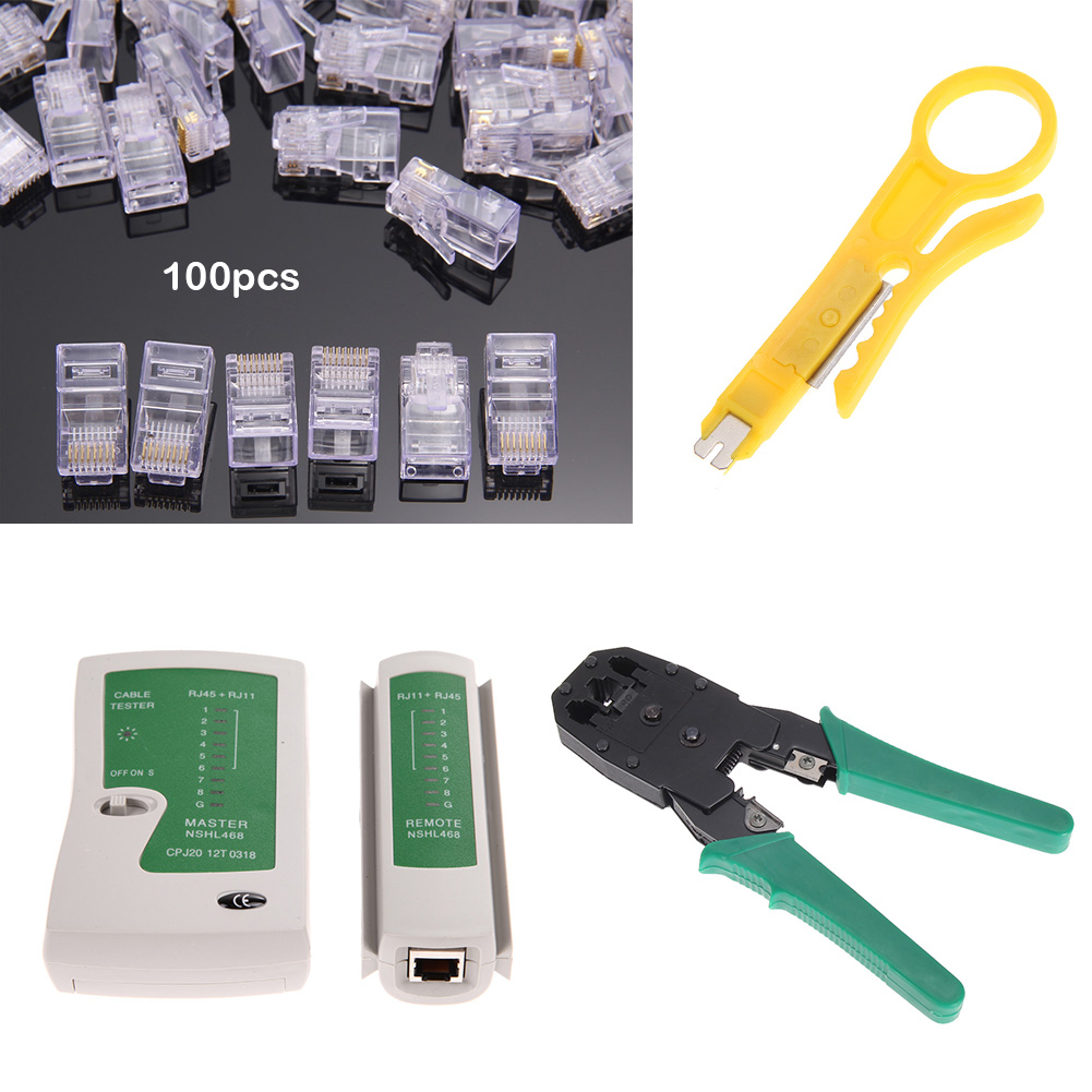 Ethernet LAN Cable Wire Tester Kit Crimp Crimper Pliers +100pcs RJ45 CAT5 Cat5e Connector Modular Plug Network Tool Set