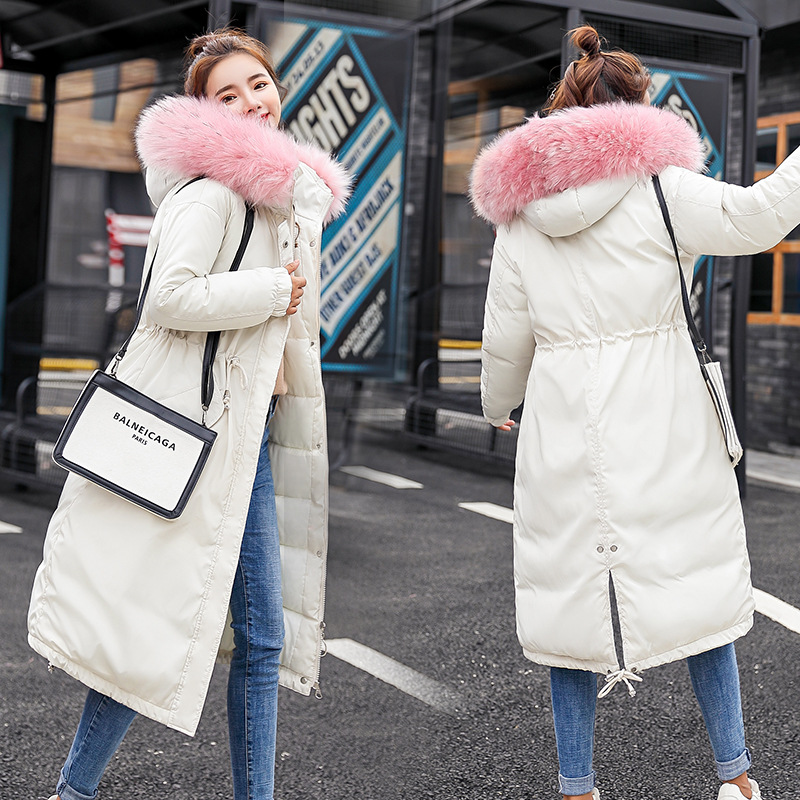 Fashion Loose Hooded Bige Fur Down jacket 2019 New Winter Women Down Cotton Padded Jacket Coat Female Thick Long   Parkas   Outwear