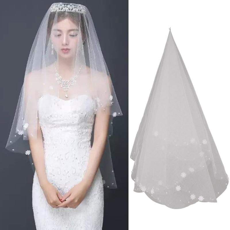 Women Wedding Dress Embroidered Flower Veil Layersf Tulle Rbbon Edge Bridal Veil