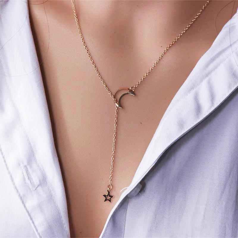 新ファッションスター中空ムーンペンダントチェーンネックレス女性のための調整可能なゴールドカラーチェーン Collares 宝石類のギフト NB319