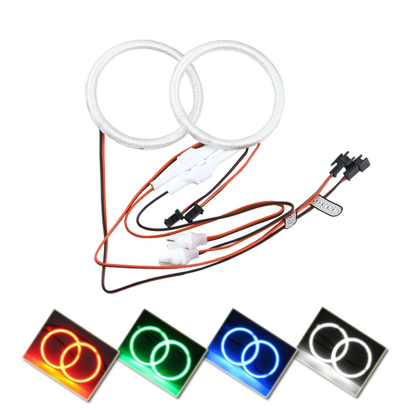 Various Size 2PC 60 66 72 75 80 85 90 94 <font><b>100</b></font> 105 <font><b>110</b></font> 115 120 125 140 145mm Auto Halo Rings 3014 SMD Car Moto Angel Eyes Fog Lamp image