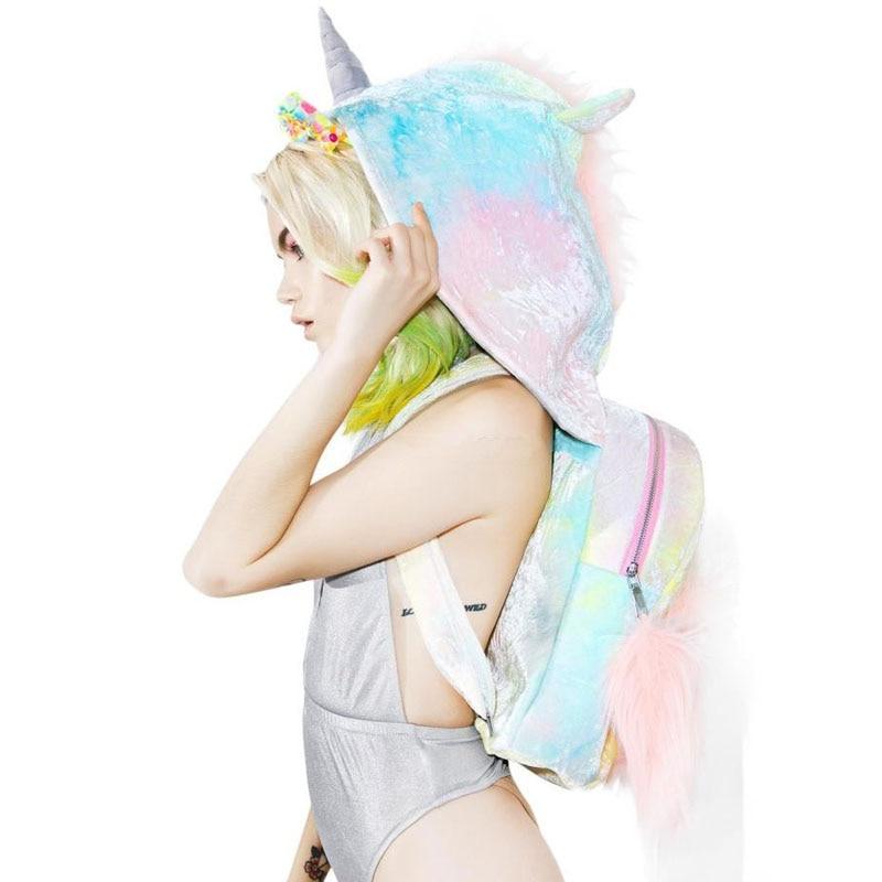 Colorful Fluffy Hooded Unicorn Backpack Sugar Baby Softy Women Rucksacks Creative Plush Bag Funny Girls Backpacks
