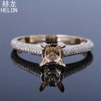 Твердые 10 К (417) желтое Золото круглая огранка 6 7 мм полу крепление 0.52ct 100% из натуральной бриллиантами Обручение Мода изысканные Jewery кольцо