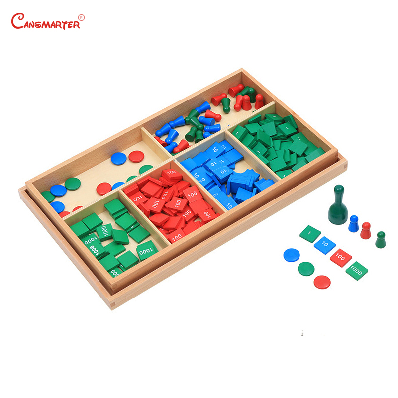 Matériel en bois Montessori maths jouets timbre jeux jouets bébé hêtre bois géométrique compteur boîte numéro maths jouets accueil apprentissage MA062-36