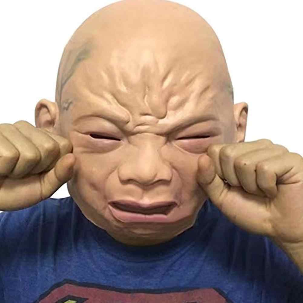 Halloween Mask Realistis Menangis Wajah Penuh Kepala Bayi Masker Bar Kamar Rumah Berhantu Perlengkapan Pesta Halloween Dekorasi Scary Mask