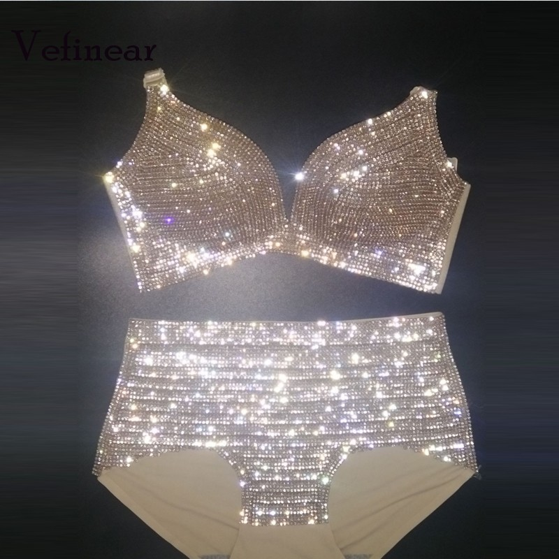 Vefinear Costumi Da Bagno Delle Donne Push Up Costume Da Bagno Bikini Diamante 2018 Blingbling di Strass Costume Da Bagno Delle Donne Set Biquini Maillot De Bain