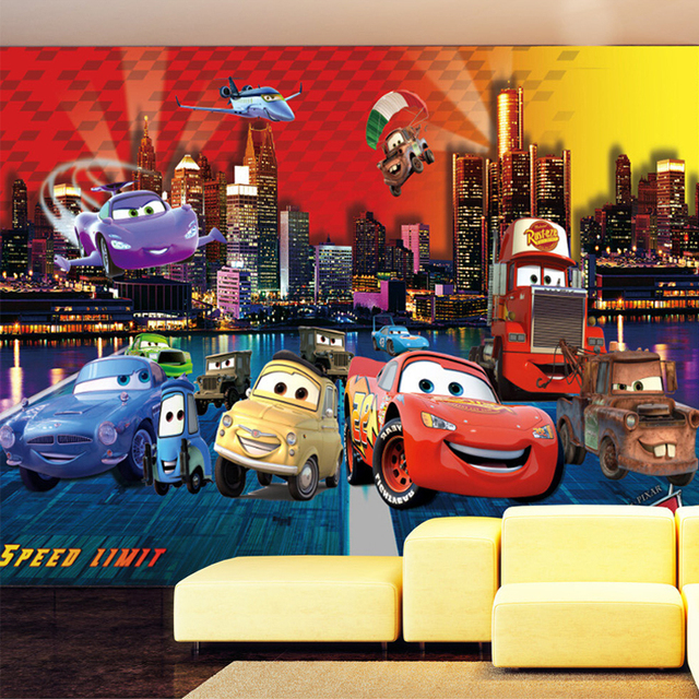 Custom 3D Photo Wallpaper Cartoon Airplane Car Large Wall Murals Children Room Non-woven Glitter Wallpaper For Bedroom Walls 3D