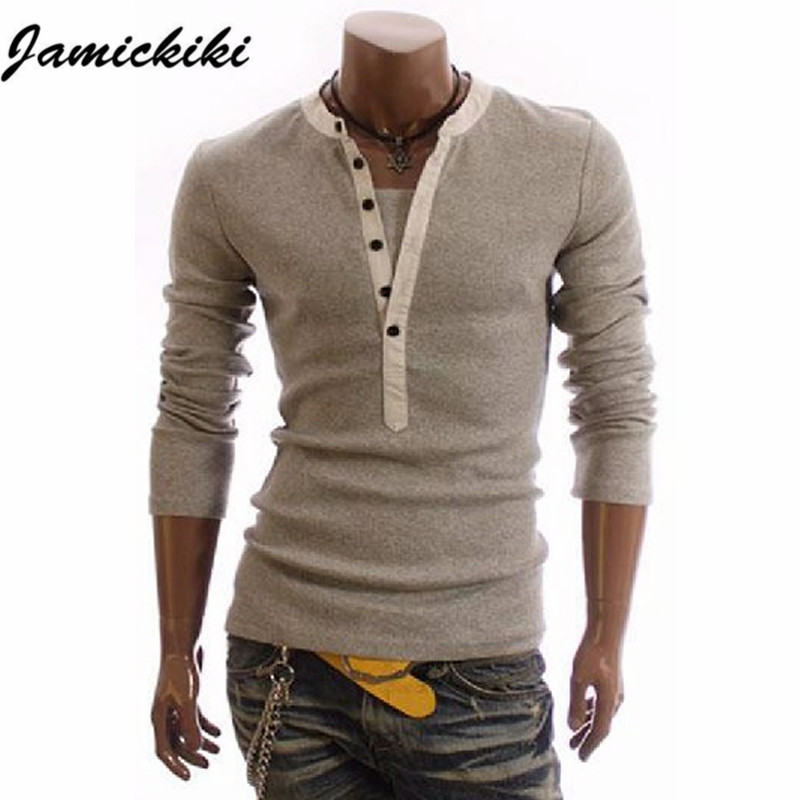 2016 british style mens fashion slim v neck cotton long for In style mens shirts