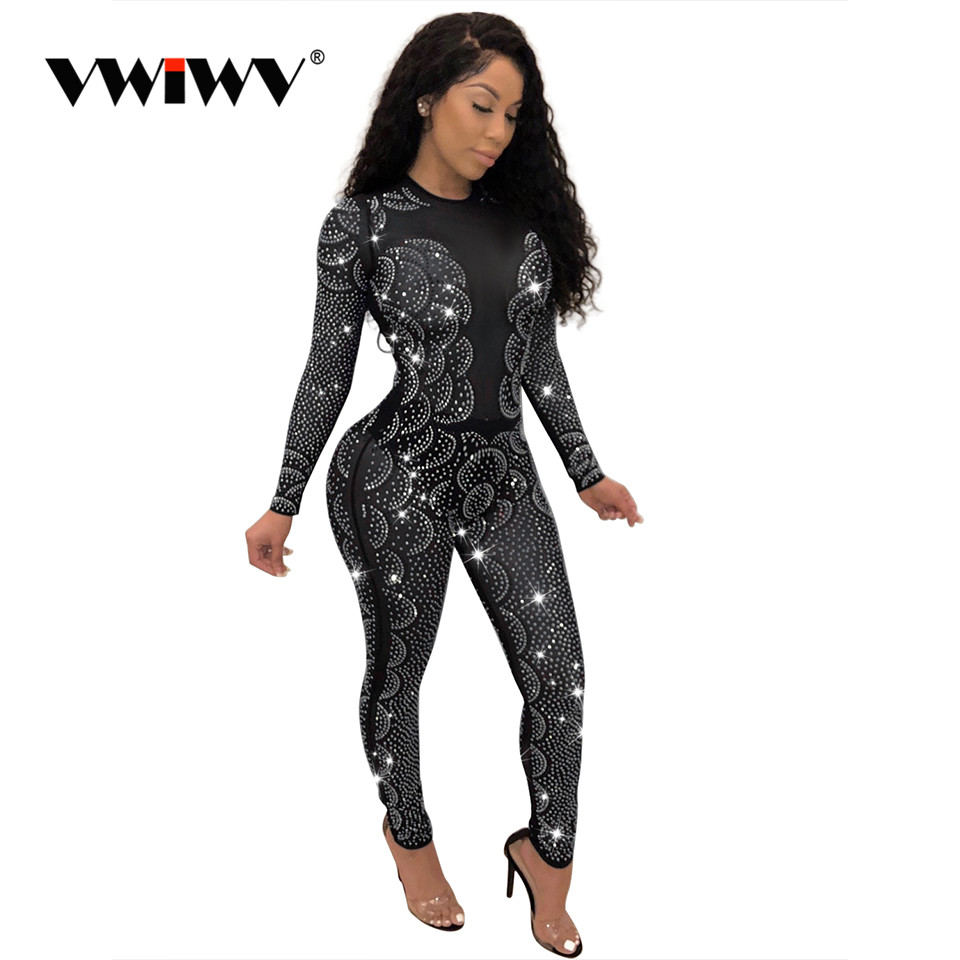 Womens Sequin Fashion Clubwear Shorts Long Sleeve Jumpsuits Rompers