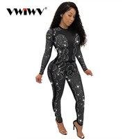 VWIWV Women Sequin Rhinestone Jumpsuit Diamond Jumpsuits Wave Pattern Long Sleeve Skinny Clubwear Party One Piece Romper