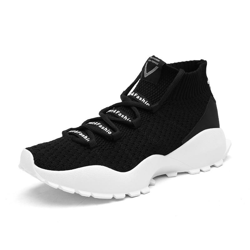 2018 New Spring, Summer And Autumn New Men's Shoes Casual Increase Models High To Help Fly Woven Sports Running Men's Shoes