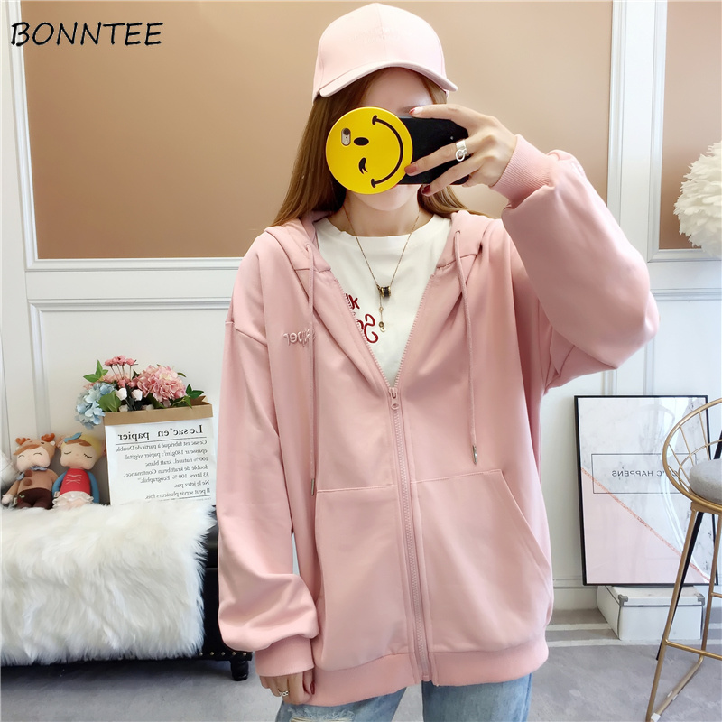Hoodies Women Harajuku Ulzzang School Students Lovely Zipper Womens Pullover Korean Style Full Sleeve Hooded Ladies Sweatshirts
