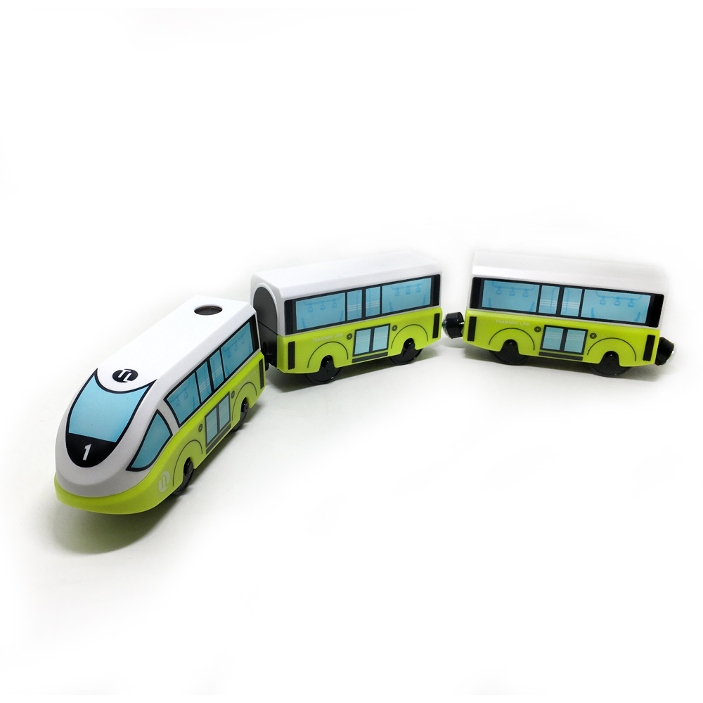 w129 Magnetic Slot Electric Train with 2 Carriages Thomas Wood Toy FIT Thomas track wooden track Brio Children Electric Toy