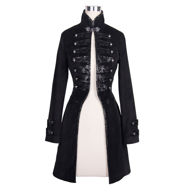 Devil Fashion Gothic Flocking Pattern Lady Jackets Punk Black Long Sleeves Single Button Coats Victorian Outerwear