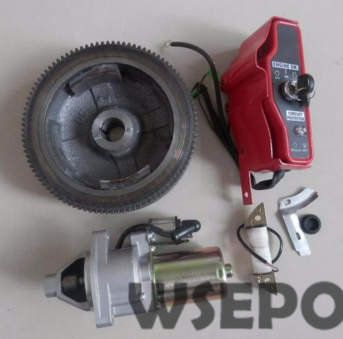 Chongqing Quality! Electrical Start Rebuild Kit(incl. fywheel/charing coil/start motor/Control box) for 188F/GX390 Gas Engines chongqing quality 100% copper winding rotor