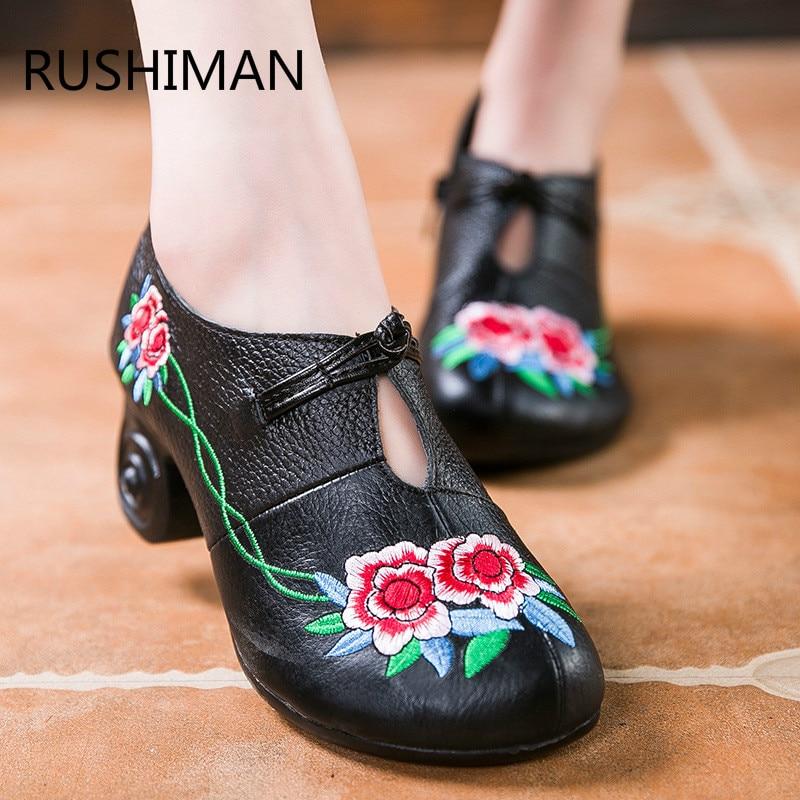 RUSHIMAN 2018 printemps automne nouveau style national femmes brodé unique chaussures tête ronde avec grossière confortable fermoir chaussures