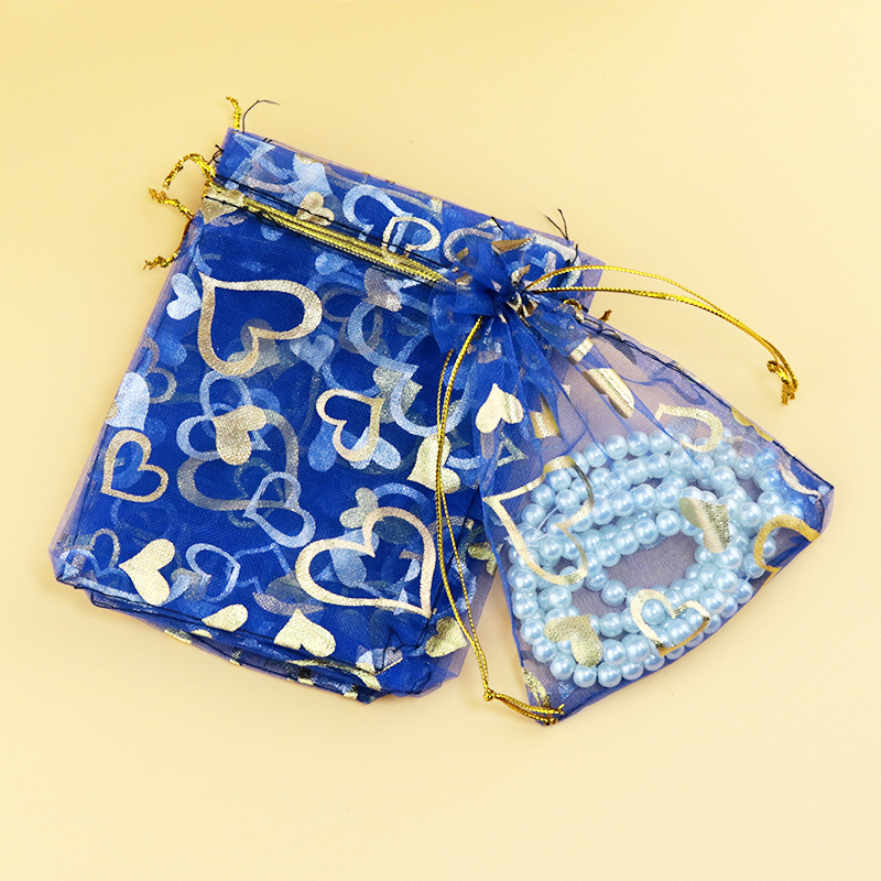 Whole Gold Heart Printed Organza Bag 7x9cm Wedding Jewelry Packaging Pouches Nice Gift Bags Royal Blue 100pcs Lot In Display From