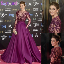 Elegant Grape Celebrity Evening Dresses Sheer Long Sleeve Lace Beaded Custom Made 2019 Prom Special Occasion robe de soiree