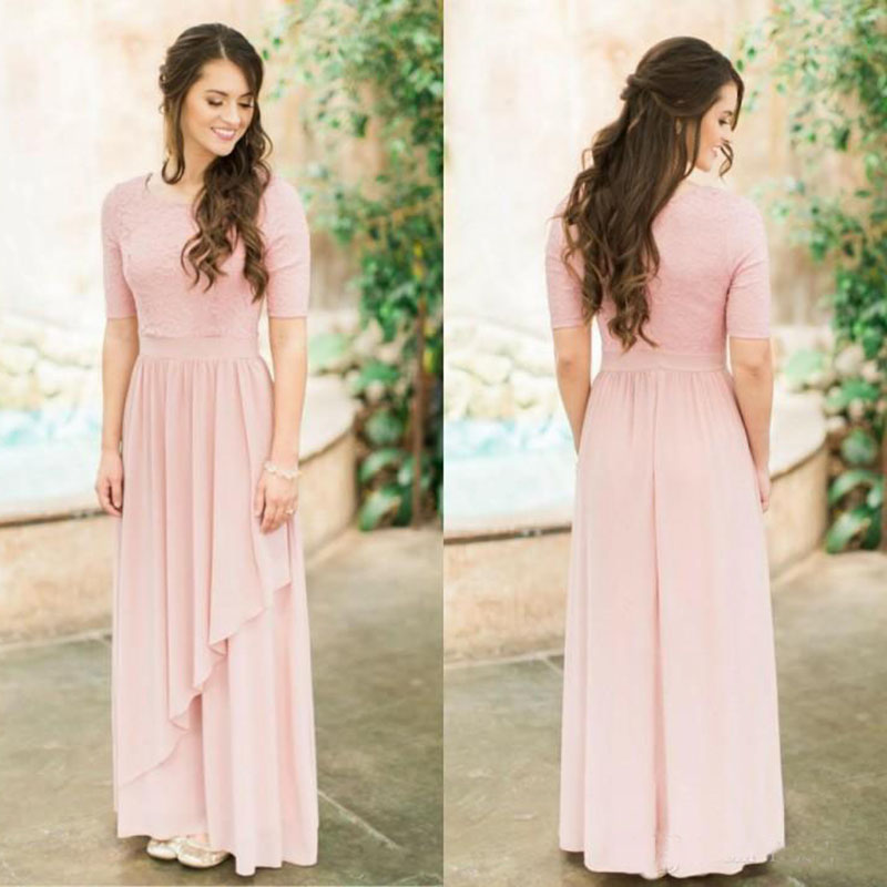 2018 Modest Rose Dusty Long Bridesmaid Dresses With Half Sleeves Lace Chiffon Country Wedding Bridesmaids Dresses Boho Sleeved