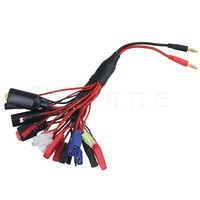 Mxfans 230mm Length Black Red Color 14AWG T Plug Male To 4mm Banana Plugs Battery Charge