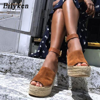 Eilyken Summer Brown Flock Women Platform Sandals Peep Toe Wedge Espadrilles Women Buckle Strap Comfortable Women Sandals