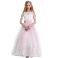 цены Fashion New Trailing Long Girls Dress for Baby Kid Birthday Princess Party Elegant Wedding Bridesmaid Kids Dresses for Girls