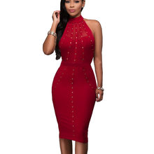 Fashion 2018 Sexy African Dresses Woman Pinup High Neck Bodycon Beaded Mesh Kim Kardashian Dresses In Moscow Kleider Purple XS(China)