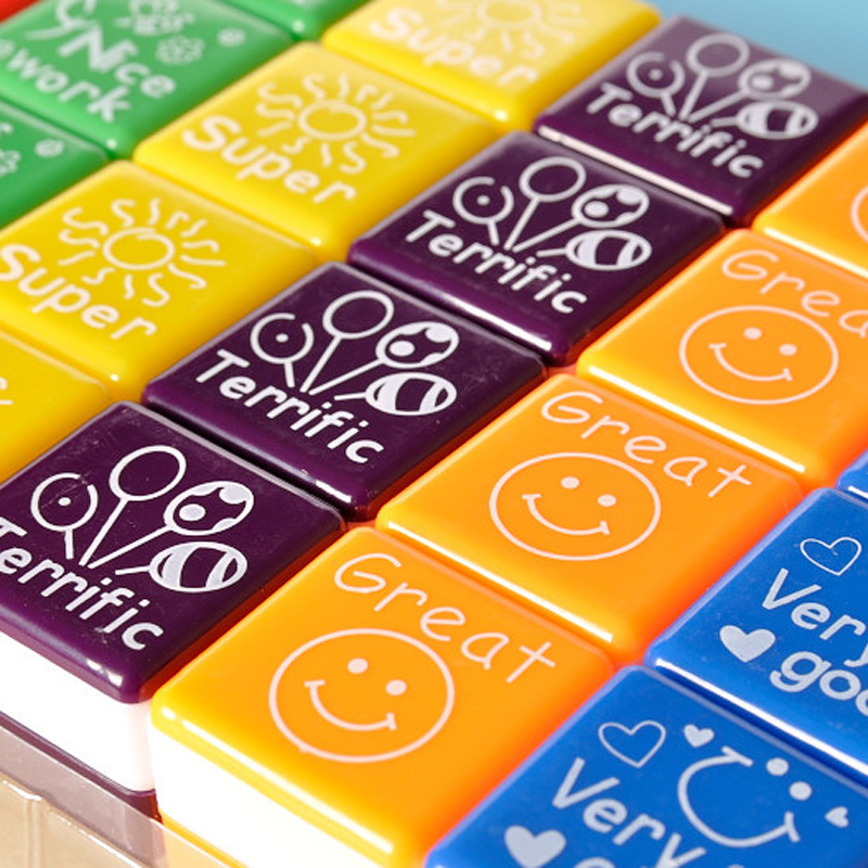 6pcs/set Photosensitive Seal Date Planner  Self  Inking Stamp Custom Child Education DIY Teacher Stamps Kawaii