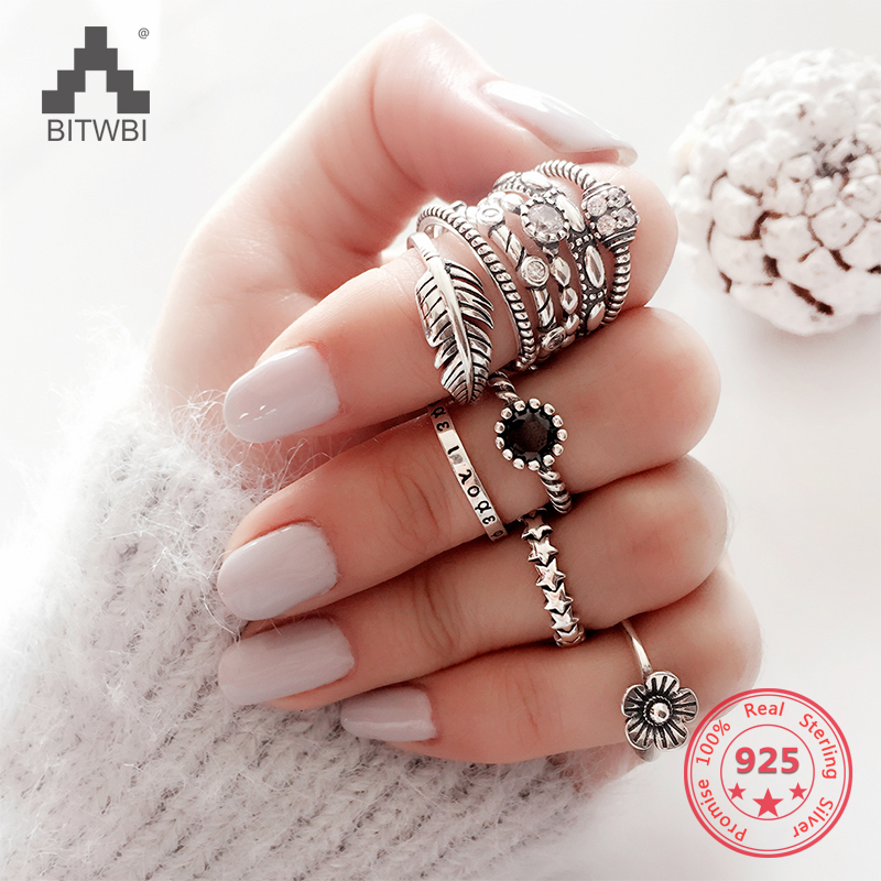 BITWBI S925 Sterling Silver Ring Woman Models Sweet Korean Version Retro Birthday Gift Simple Open Joints Ring Silver Jewelry