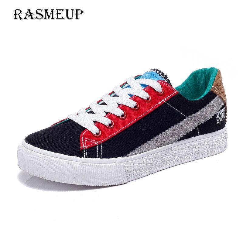 RASMEUP Patchwork Women's Canvas Sneakers 2018 Summer Fashio