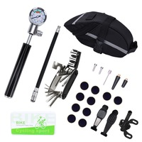 Mountain Bike Bicycle Repair Tools Mini Pump/ Type Repair Kit/ Screwdriver Tool Wrench Portable Cycling Tool Set with Carry Bag