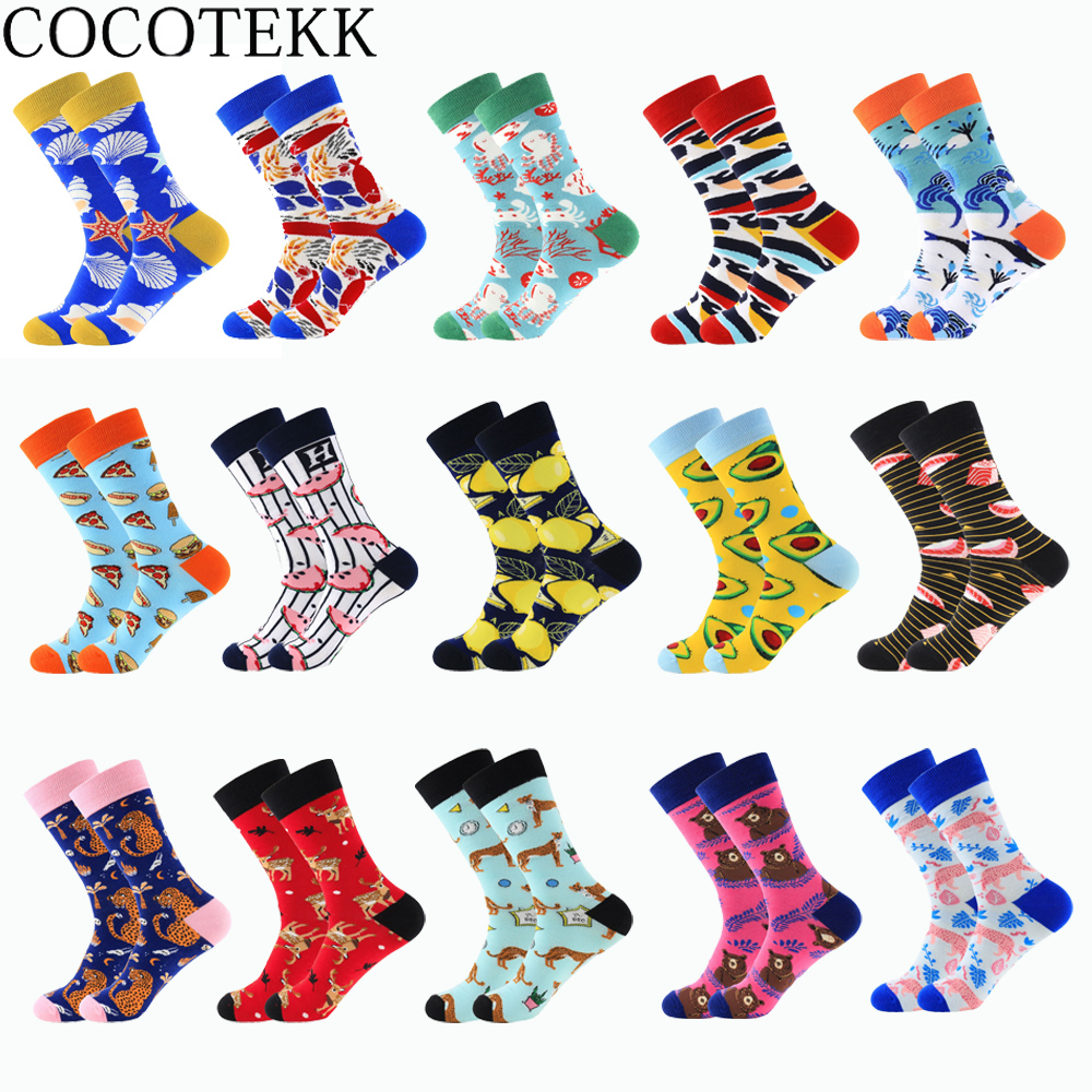 Men Socks 2019 Autumn Winter New Fashion Creative Funny Colorful Design Combed Cotton Happy Socks Christmas Wedding Socks Gifts