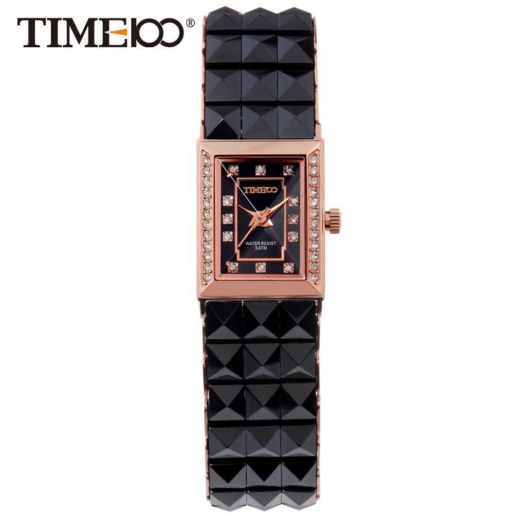Бесплатная Доставка TIME100 женские часы квадратный корпус со стразами Черный Керамический Браслет Водонепроницаемый Дамы Кварцевые Наручны…