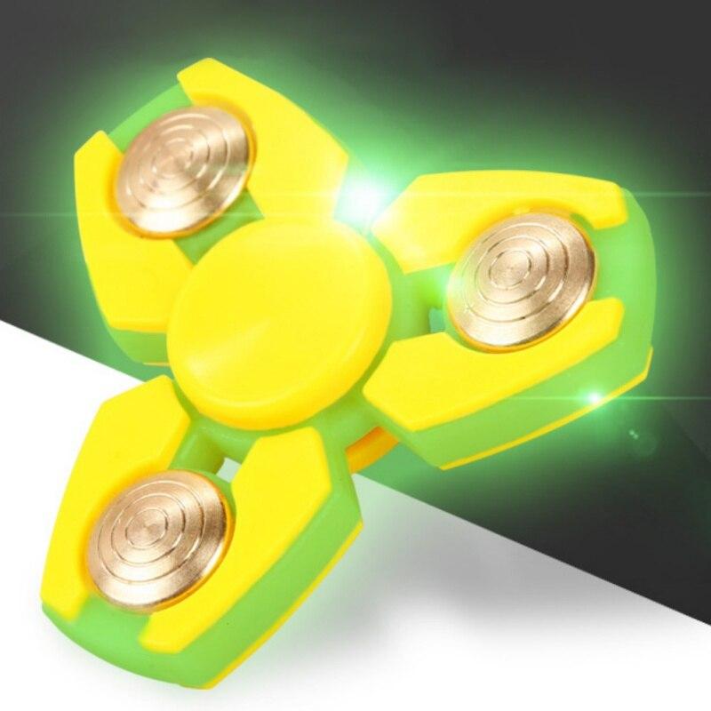 EDC Hand Spinner Gyro Toy Solar Energy Light Triangular Giggle Hands inger Spinner Stress Relief Toys