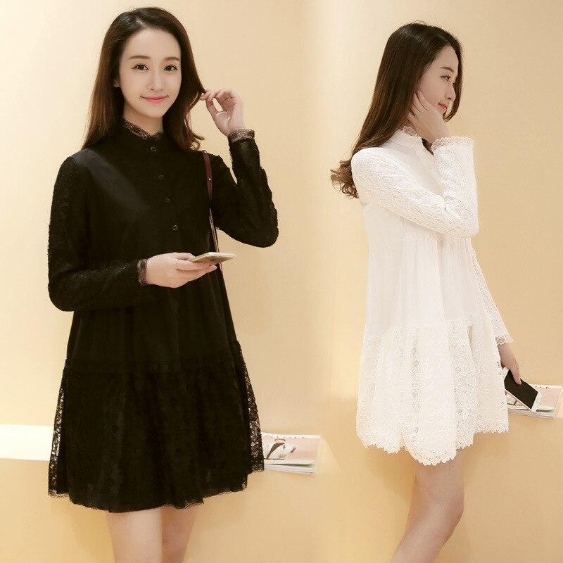 Formal Maternity Dresses Korean Style Autumn Lace Dress Women In
