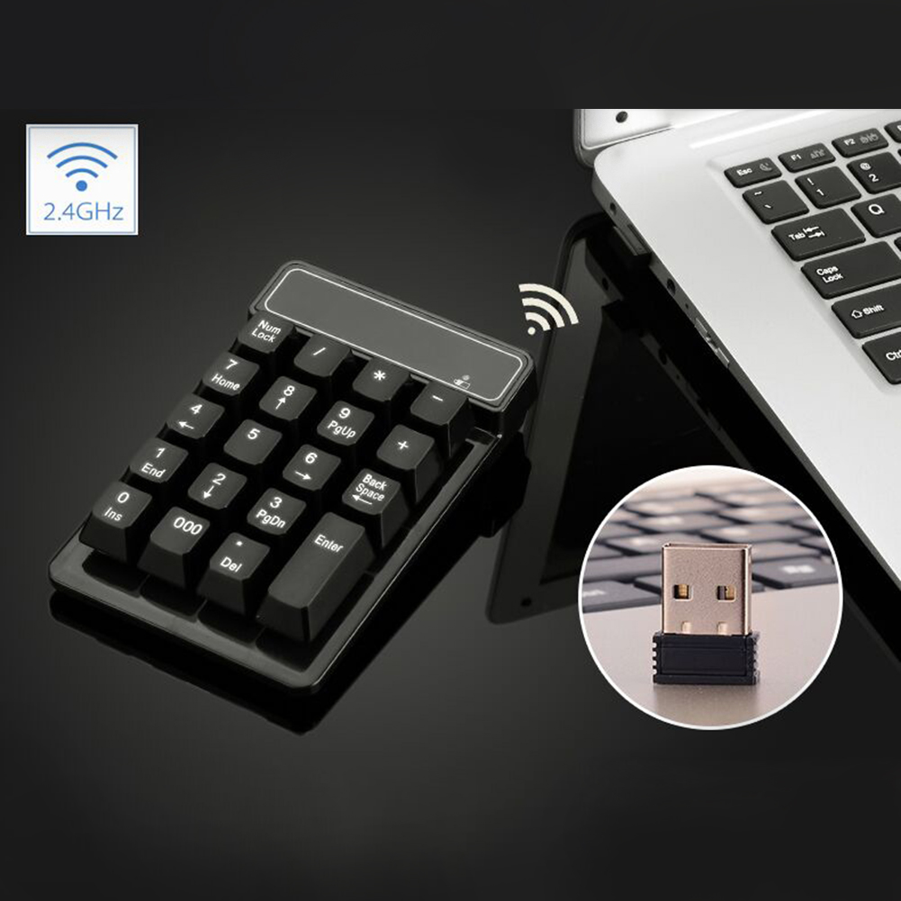 Numpad USB Wireless Numeric Keypad 19 Keys Number Pad Wireless 2.4GHz Mini Receiver for Windows XP 7/ 8 Laptop PC Computer silicone usb 18 key numeric keypad numpad for laptop black