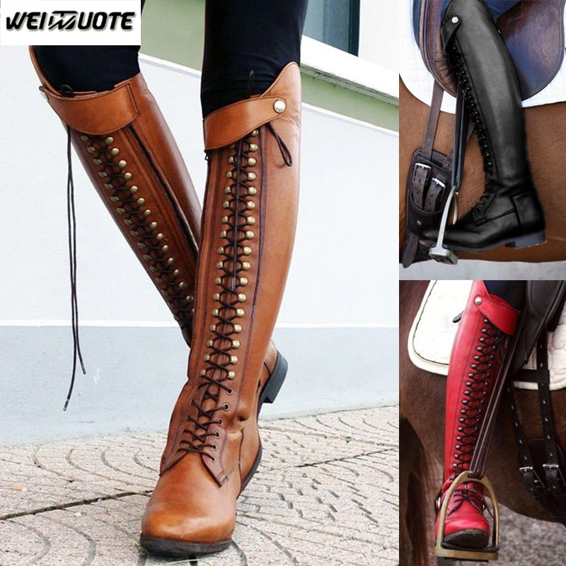 34aec2f62 WEINUOTE Women's Fashion Horse Riding Boots Lace Up Flat Cross Strap Long  Boots Vintage Leather Knee High Boots Botte Femme -in Over-the-Knee Boots  from ...