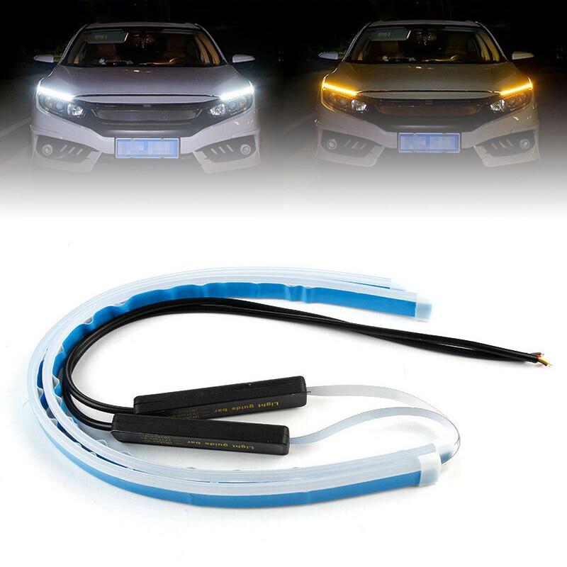 60CM Slim Amber Tube 12V Flexible SMD LED DRL Turn Signal Strip Car Headlight