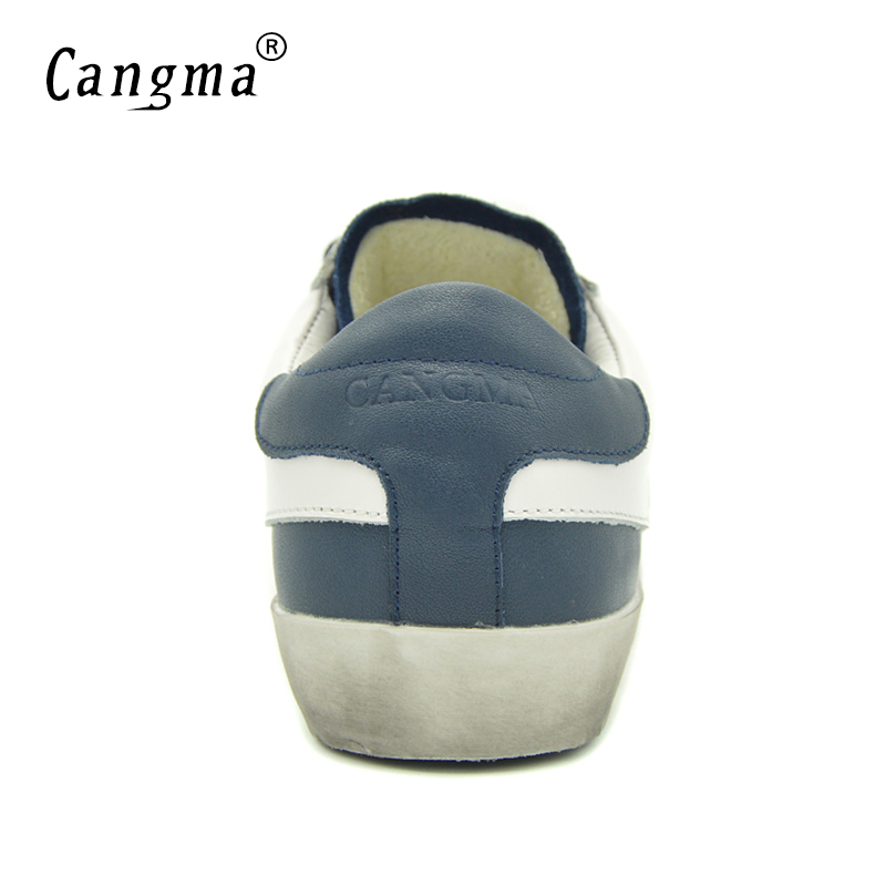 Image 5 - CANGMA British Brand Shoes Men Sneakers Vintage Navy Blue Man  Shoes Leather Genuine Male Shoe Adult Casual Latest Footwear 2017Mens  Vulcanize Shoes