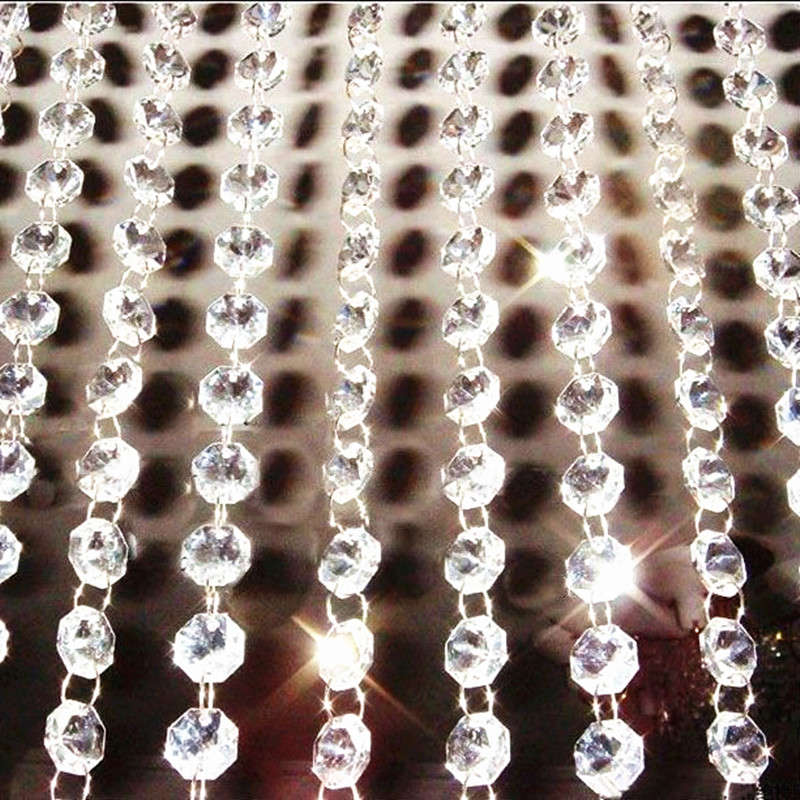 Top Quality 100m/lot DIY Top Quality 14MM K9 Crystal Octagon Garland Strands Crystal Beads Curtain,chandelier Parts Decoration