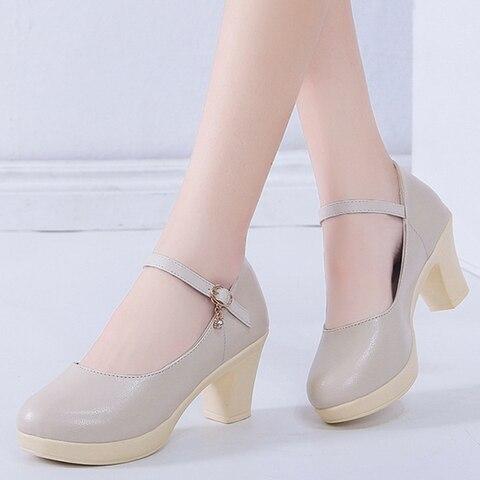 Rimocy Black High Heel 6cm Office Shoes Woman Platform Chunky Heels Ankle Strap Pumps Women Thick Bottom Non-slip Ladies Shoes Karachi