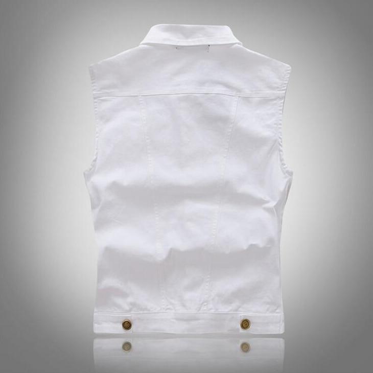 01e2913b317 Denim vest mannen witte Mode 2018 Colete jeans Hip hop Mouwloze jas Vest  Heren vest colete jeans masculino M XXXL in Denim vest mannen witte Mode  2018 ...