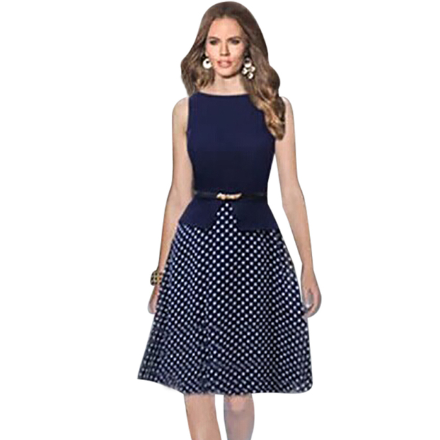 ab1d4bf1188 Oxiuly Dropshipping Women Sleeveless Empire Waist Dot Contrast Color Wear to  Work Elegant Cut Dresses With Belt