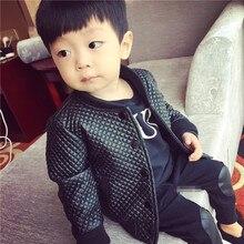 2020 キッズ秋冬服子供ジャケットのための子供の pu レザーコート黒幼児暖かい厚手