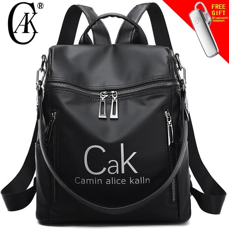Torta de la marca de lujo de las mujeres bolsas mochila de Nylon negro a prueba de agua de alta calidad mochila de viaje para señora joven College estilo bolso de mujer