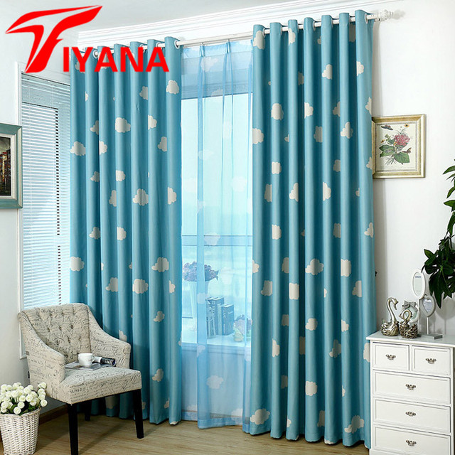 Modern Korean Style Blue Sky White Clouds Design Cartoon Curtains ...